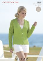 Sirdar Cotton DK Knitting Pattern - 7353 Cardigan